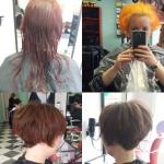 Frau mit kurzen brünetten Haaren. Frisur-Typveränderung einer Frau von langen zu kurzen brünetten Haaren