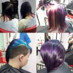 Frauen mit Rainbow Color. Frauen mit mittellangen Haaren und Trendfarbe Rainbow Color