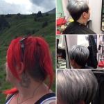 Frau mit kurzen Haaren grau/schwarz. Typveränderung-Frisur einer Frau mit kurzen Haaren zweifarbig grau und schwarz