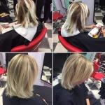 Frau mittellange blonde Haare. Frisur Frau mit mittellangen blonden Haaren und Strähnchen