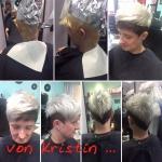 Frau kurze Haare zweifarbig. Frisur-Typveränderung einer Frau mit kurzen Haaren zweifarbig blond/schwarz