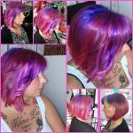 Frau mit buntem Bob. Frisur Frau mit mittellangem Bob und Trendfarben Rainbow Color pink, lila, blau