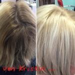 Frau mit blonden Strähnen. Frisur Frau mit mittellangen Haaren blondiert mit Strähnen