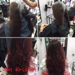 Frau mit langen Haare Farbverlauf. Frisur einer Frau mit langen Haaren in Ombrè, Ansätze dunkel und  Längen in rot mit Locken