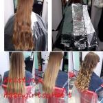 Frau mit langen Haaren mit Farbverlauf. Frisur einer Frau mit langen Haaren und Ombré in brünett und blond