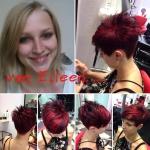 Frau mit kurzen roten Haaren. Frisur-Typveränderung einer Frau von langen blonden zu kurzen roten Haaren