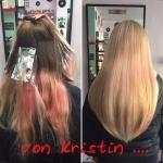 Frau mit langen blonden Haaren. Frisur einer Frau mit langen Haaren und blonden Strähnen