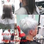 Frau mit kurzen Haaren. Frisur-Typveränderung einer Frau von langen dunklen Haaren zu kurzen Haaren in Trendfarbe grau