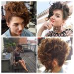 Frau mit Hochsteckfrisur. Frisur einer Frau mit hochgesteckten brünetten Haaren und Locken