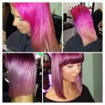 Frau mit mittellangen lila Haaren . Frisur einer Frau mit schulterlangen lila Haaren