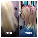 Frau mit schulterlangen blonden Haaren. Frisur Frau mit Stufenschnitt und schulterlangen blonden Haaren mit pinkfarbenem Ansatz