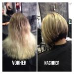 Frau mit kurzem blonden Bob. Frisur-Typveränderung einer Frau mit kurzen blonden Bob und Strähnen