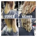 Frau mit mittellangen blonden Locken. Frisur einer Frau mit blonden gelockten Haaren