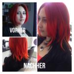Frau mit Haarverlängerung rote Haare. Frisur Frau mit Haarverlängerung mittellanges Haar in rot/schwarz