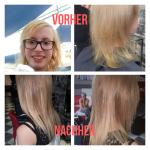Frau mit Haarverdichtung . Frisur einer Frau mit blonden Haaren und Haarverdichtung- und Verlängerung