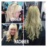 Frau mit Haarverdichtung. Frisur einer Frau mit blonden langen Haaren mit Locken und Haardichtung- und Verlängerung