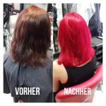 Frau mit schulterlangem roten Haar. Frisur-Farbveränderung einer Frau mit roten mittellangen Haaren