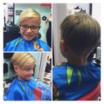 Kind mit kurzen Haaren. Frisur Kind mit kurzen blonden Haaren und Seitenscheitel