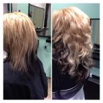 Frau mittellange Haare. Frisur einer Frau mit langen zweifarbigen Haaren in blond und schwarz
