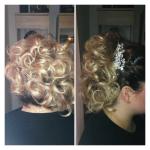 Frisur Frau hochgesteckt. Frisur einer blonden Frau mit hochgesteckten lockigen Haaren und Haarschmuck