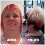 Frau mit kurzen mehrfarbigen Haaren. Kurzhaar-Frisur einer Frau mit drei Farben