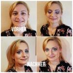 eine Frau mit professionellem Make-Up. Typveränderung einer Frau geschminkt mit Make-Up vom Profi