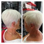 Frau mit kurzen grauen Haaren. Frau mit grauer Kurzhaarfrisur